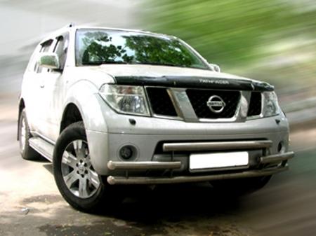 Nissan Pathfinder 2005-2009г.в.-Дуга передняя по низу бампера d-60 радиусная тройная